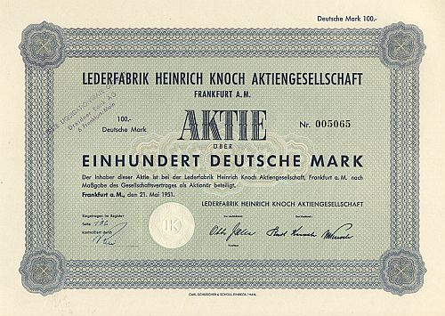 Lederfabrik Heinrich Knoch Aktiengesellschaft historic stocks - old certificates