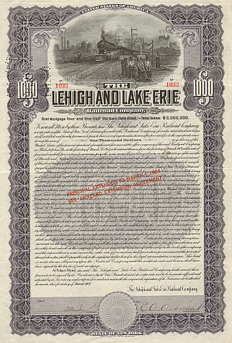 Lehigh and Lake Erie Railroad Company historische Wertpapiere - alte Aktien