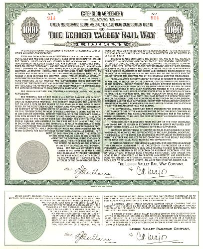 Lehigh Valley Railway Company historic stocks - old certificates