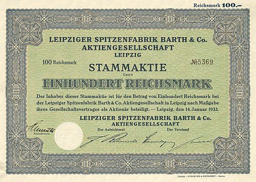 Leipziger Spitzenfabrik Barth & Co. Aktiengesellschaft historic stocks - old certificates