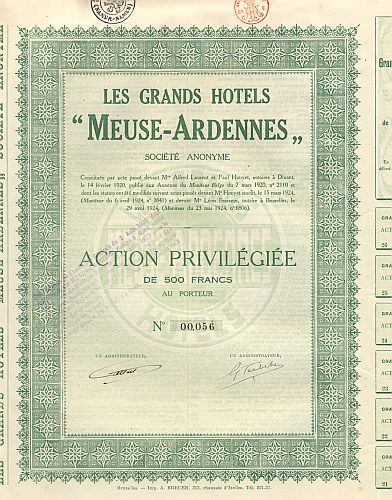 Les Grands Hotel 'Meuse-Ardennes' historic stocks - old certificates