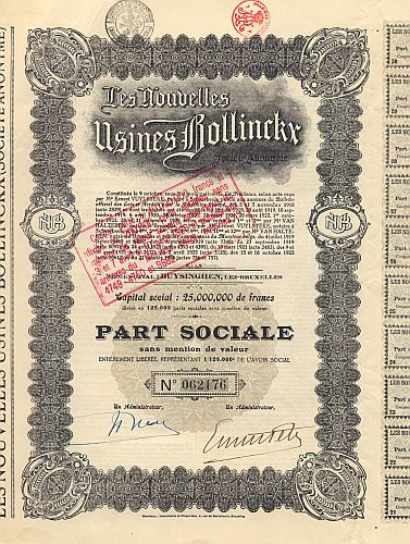 Les Nouvelles Usines Bollinckx historic stocks - old certificates