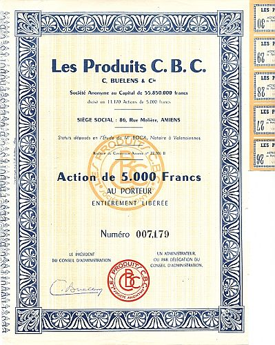 Les Produit C.B.C. historic stocks - old certificates