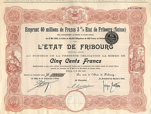 L'Etat de Fribourg (Suisse) historic stocks - old certificates
