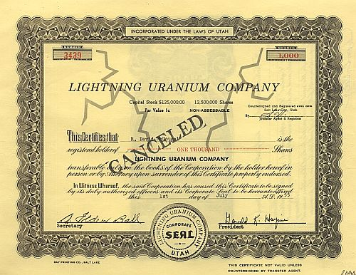 Lightning Uranium Company historic stocks - old certificates