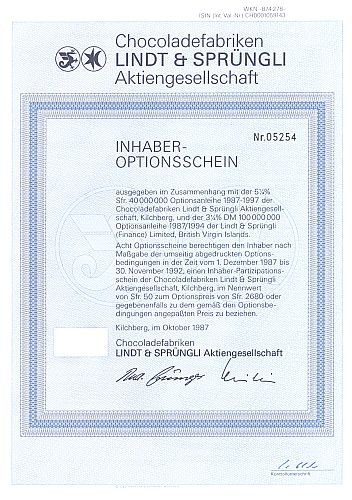 Lindt und Sprüngli historic stocks - old certificates