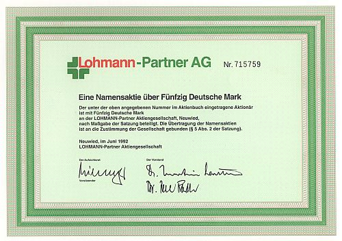 Lohmann-Partner AG historic stocks - old certificates