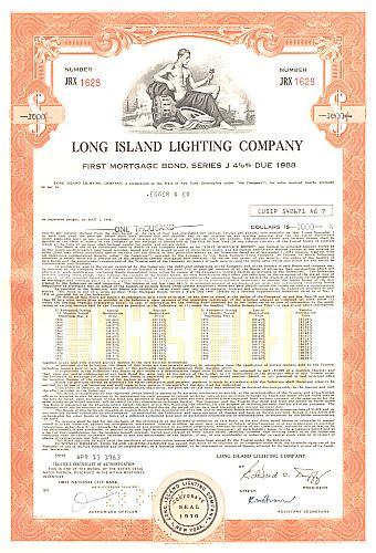 Long Island Lighting Company historic stocks - old certificates