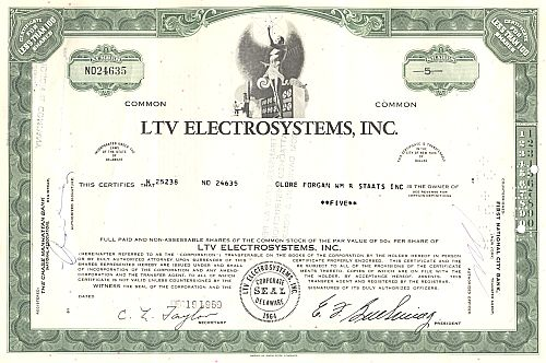 LTV Electrosystems, Inc. historic stocks - old certificates