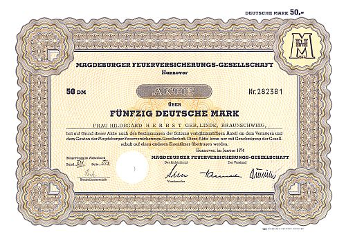 Magdeburger Feuerversicherungs-Gesellschaft (1980) historic stocks - old certificates