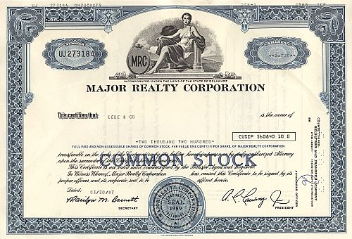 Major Realty Corporation historische Wertpapiere - alte Aktien