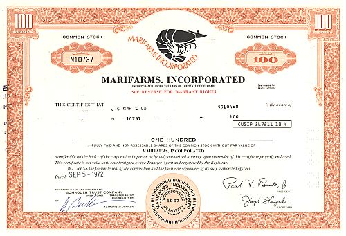 Marifarms, Incorporated historic stocks - old certificates