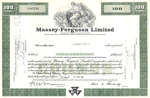 Massey-Ferguson Limited historic stocks - old certificates