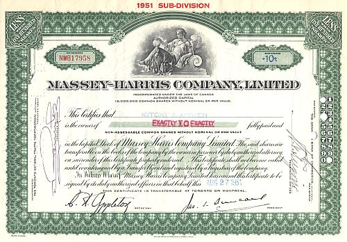 Massey-Harris Company, Limited historic stocks - old certificates