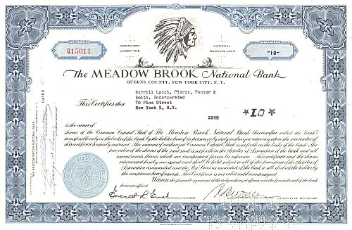 Meadow Brook National Bank historische Wertpapiere - alte Aktien