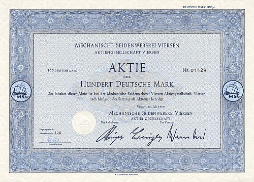 Mechanische Seidenweberei Viersen 100 DM (1969)  historic stocks - old certificates