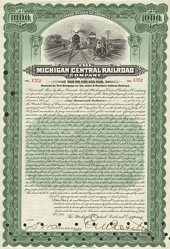 Michigan Central Railroad historische Wertpapiere - alte Aktien