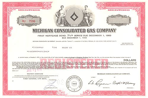 Michigan Consolidated Gas Company historic stocks - old certificates