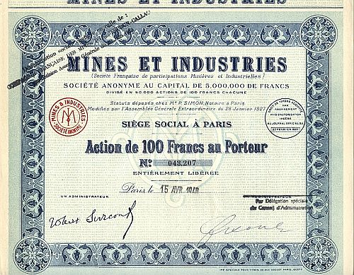 Mines et Industries historic stocks - old certificates