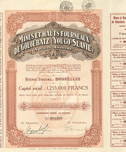 Mines de Wolfram de Balborraz -  historic stocks - old certificates Mining