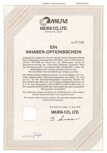 Miura Co. historic stocks - old certificates