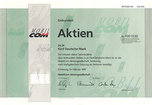 MobilCom Aktiengesellschaft (100 x 5.-DM) historic stocks - old certificates
