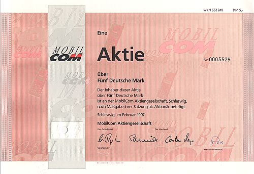 MobilCom Aktiengesellschaft (5.-DM) historic stocks - old certificates