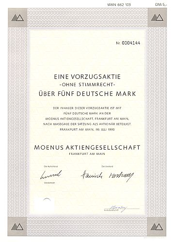 Moenus Aktiengesellschaft historic stocks - old certificates