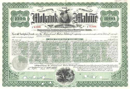 Mohawk and Malone Railway historic stocks - old certificates