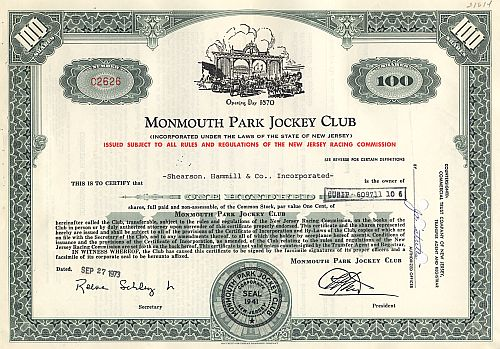 Monmouth Park Jockey Club historic stocks - old certificates