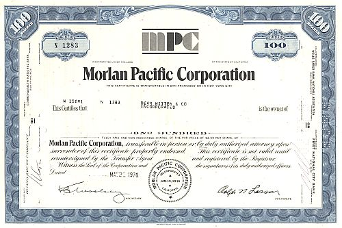 Morlan Pacific Corporation historic stocks - old certificates
