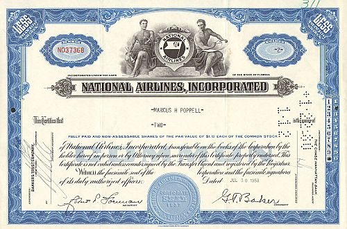National Airlines, Incorporated  historic stocks - old certificates