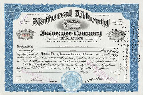 National Liberty Insurance Company of America -  historic stocks - old certificates Banks and Insurance