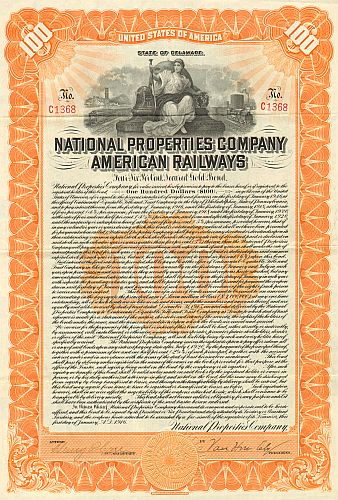 National Properties Company American Railways historic stocks - old certificates