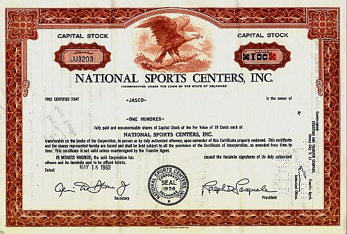 National Sports Centers Inc. historic stocks - old certificates