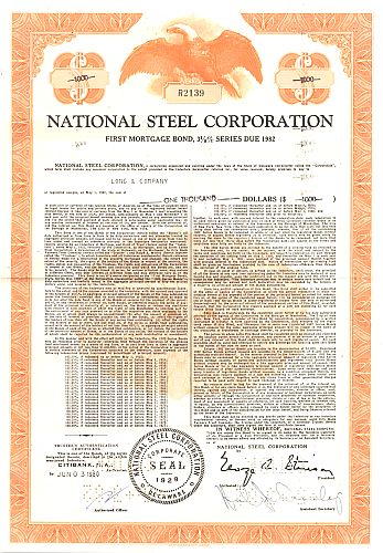 National Steel Corporation (kleine Ausgabe) historic stocks - old certificates