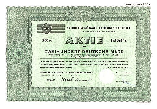 Naturella Südsaft Aktiengesellschaft (1968) historic stocks - old certificates