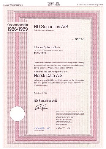 ND Securities  A/S historic stocks - old certificates