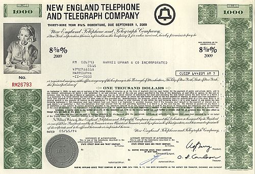 New England Telephone and Telegraph Company historic stocks - old certificates