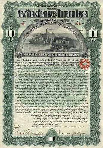 New York Central and Hudson River Railroad (Autograph Depew) historische Wertpapiere - alte Aktien