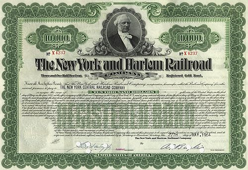New York and Harlem Railroad historische Wertpapiere - alte Aktien