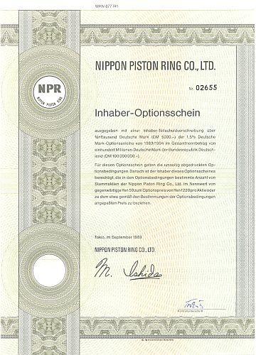 Nippon Piston Ring Co. historic stocks - old certificates