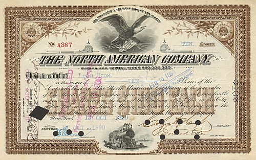 North American Company historic stocks - old certificates