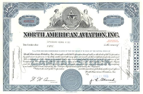 North American Aviation Inc. historic stocks - old certificates