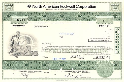 North American Rockwell Corporation historic stocks - old certificates
