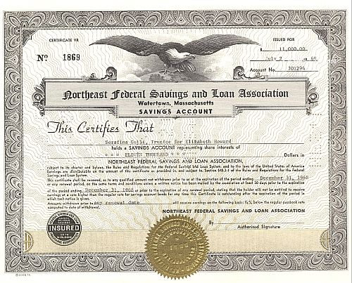 Northeast Federal Savings and Loan Association historic stocks - old certificates