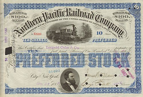 Northern Pacific Railway Company historic stocks - old certificates