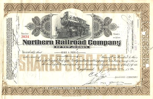 Northern Railroad Company of New Jersey historische Wertpapiere - alte Aktien