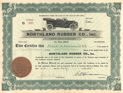 Northland Rubber Co., Inc. historic stocks - old certificates