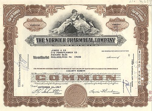 Norwich Pharmacal Company historic stocks - old certificates